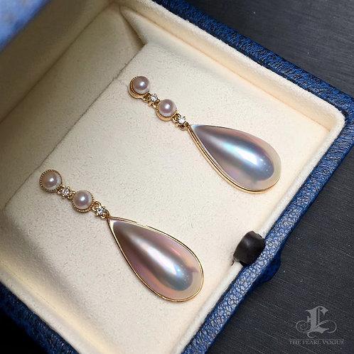 Drop Mabe Pearl Earrings, 18k Gold w/ Diamond - AAAA