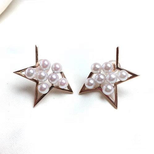 18k Rose Gold, AAAA 3-4.5 mm Akoya Pearl Star Earrings