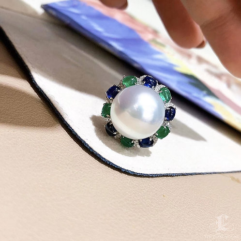 1.28 ct Sapphire AAAA 14-15 mm South Sea Pearl Luxury Ring Pendant 18k Gold