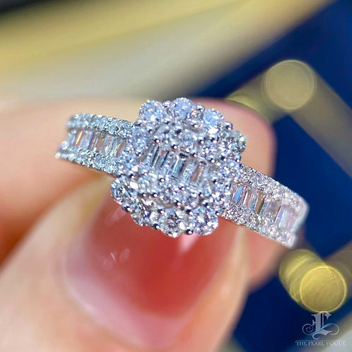 1.0 ct GH/SI Natural Diamond Micro-Pave Band Ring 18K Gold