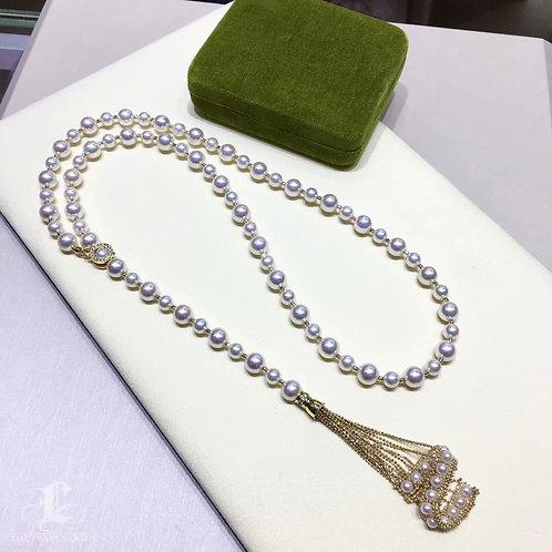 77cm Long Necklace, AAAA 4-8.5 mm Akoya Pearl Tassel Sweater Strand 18k Gold