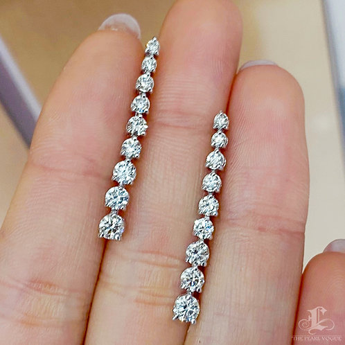 1.40 ct Natural Diamond Dangle Earrings 18k Gold