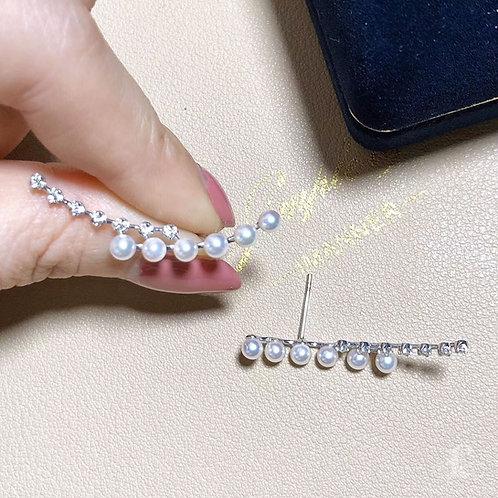 0.26ct Diamond AAAA 3-3.5 mm Akoya Pearl Earrings 18k Gold