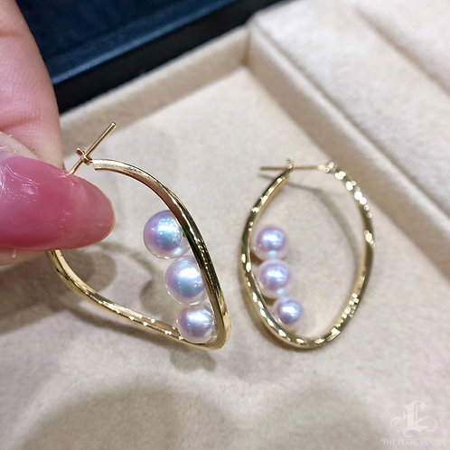 AAAA 5.5-7 mm Akoya Pearl Fashion Earrings 18k Gold