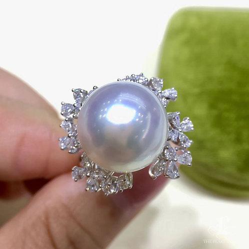 0.83ct Diamond AAAA 13-14mm South Sea Pearl Ring, 18k Gold