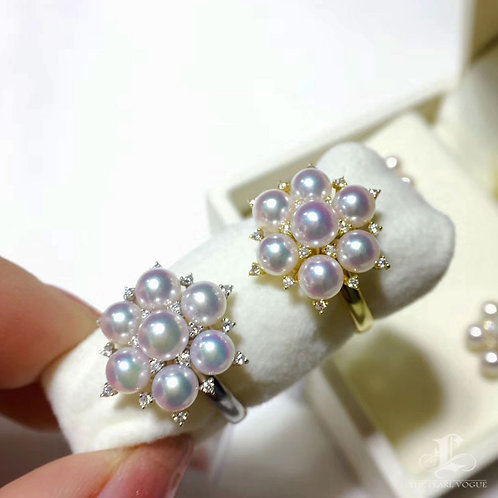AAAA 3-5 mm Akoya Pearl Fashion Ring, 18k Gold w/ Diamond