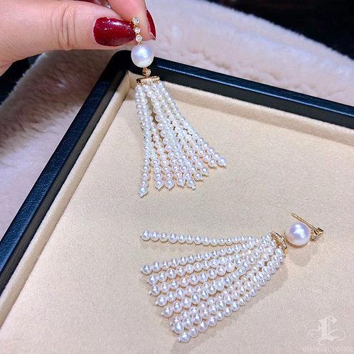0.51ct Diamond, AAAA 9-9.5 mm Akoya Pearl Tassel Earrings 18k Gold