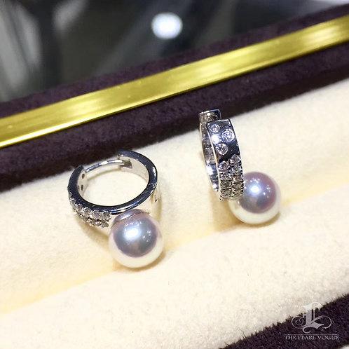0.38ct Diamond, AAAA 8-8.5 mm Akoya Pearl Earrings, 18k Gold