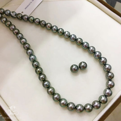 45cm 9-9.9 mm Lagoon|黑蝶真珠 Tahitian Pearl Classic Necklace Earrings Set w/ J. C.