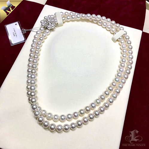 43cm, AAAA 7-7.5mm Akoya Pearl Double Strand Necklace w/ 18k Gold Diamond Clasp