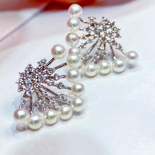0.62 ct Diamond AAAA 3-4 mm Akoya Pearl Earrings 18k Gold