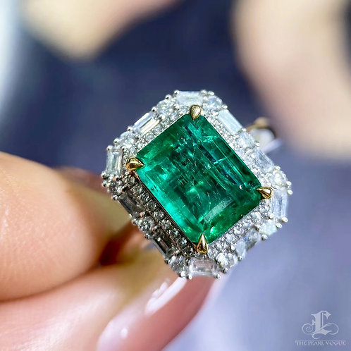 2.59 ct Natural Green Emerald Ring Pendant 18k Gold Diamond