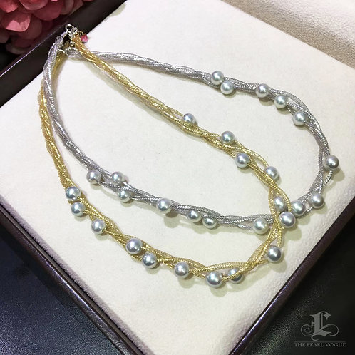 45cm, AA 7-7.5mm Akoya Pearl Hollow Mesh Chain Necklace 18k Gold
