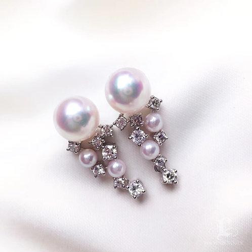 0.60ct Diamond, AAAA 4-8.5 mm Akoya Pearl Luxury Earrings, 18k White Gold