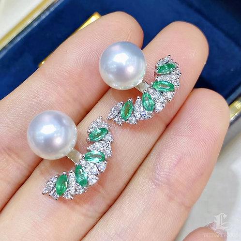 0.68ct Emerald AAAA 9-10 mm South Sea Pearl  Adjustable Earrings 18k Gold w/ Dmd