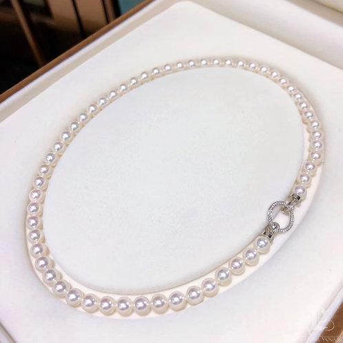 44cm, Aurora Hanadama|天女 7-7.5 mm Akoya Pearl Classic Necklace w/ Japan Certific