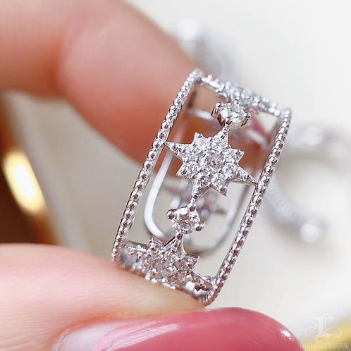 0.50 ct FG/SI Natural Diamond Wide Openwork Adjustable Ring 18K Gold
