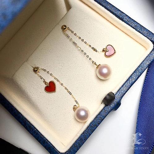 AAAA 7.5-8mm Akoya Pearl Earrings, 18k Gold w/ Agate
