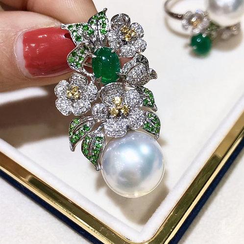 1.38ct Emerald, AAAA 14-15 mm South Sea Pearl Pendant 18k Gold w/ Diamond