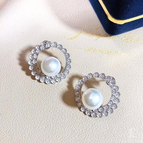 0.55ct Diamond AAAA 9.5-10 mm Akoya Pearl Earrings 18k Gold