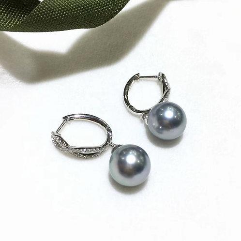 0.29ct Diamond AAAA 10-11mm Tahitian Pearl Earrings, 18k White Gold