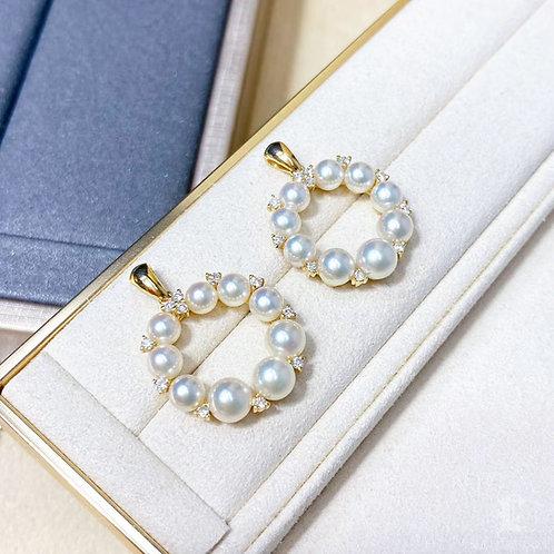 AAAA 4-6 mm Akoya Pearl Wreath Pendant, 18k Gold Diamond