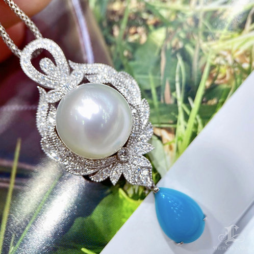 Natural Turquoise, AAAA 13-14 mm South Sea Pearl Pendant 18k Gold w/ Diamond