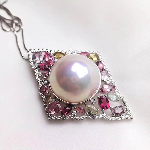 19-20mm Large Mabe Pearl Pendant 18k Gold w/ Diamond - AAAA