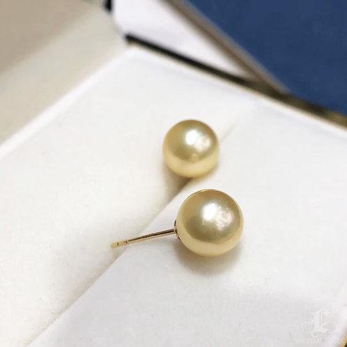 AAAA 7.5-8 mm Golden Akoya Pearl Stud Earrings 18k Gold