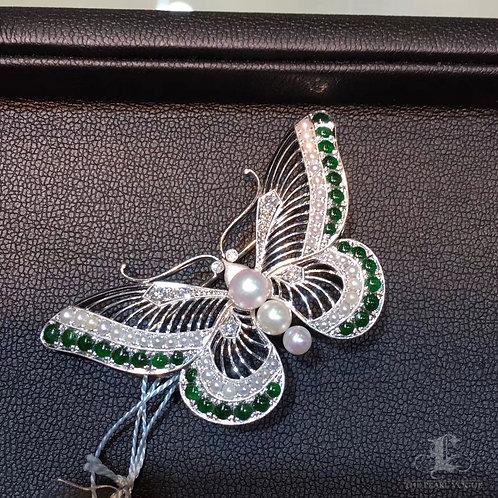 Akoya Pearl Butterfly Brooch w/ PT Gold Burmese Jadeite - AAAA