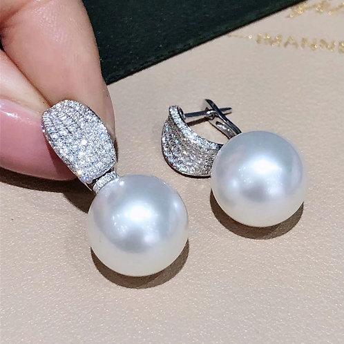 1.00 ct Diamond, AAAA 14 mm Aurora South Sea Pearl Luxury Earrings 18k Gold