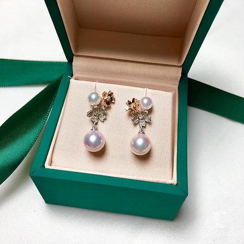 0.27ct Diamond, AAAA 5-5.5 mm & 8-8.5 mm Akoya Pearl Earrings, 18k Gold