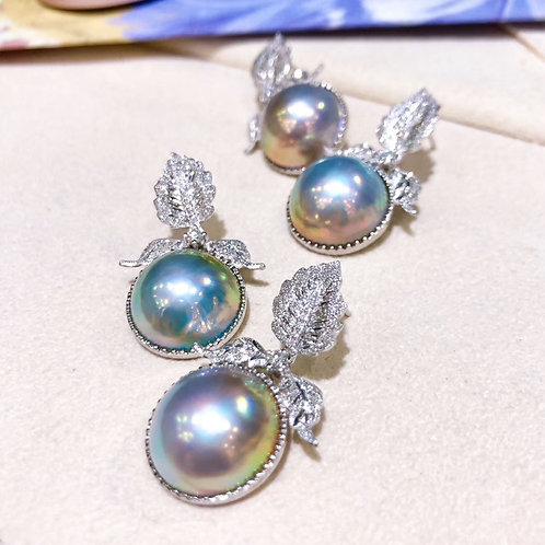 0.18ct Diamond Aurora 14-15 mm Blue Mabe Pearl Earrings 18k Gold
