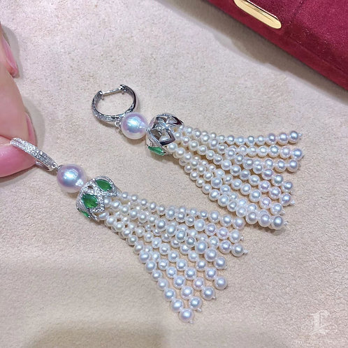 1.50ct Emerald, AAAA 8-8.5mm Akoya Pearl Tassel Earrings 18k Gold w/ Diamond