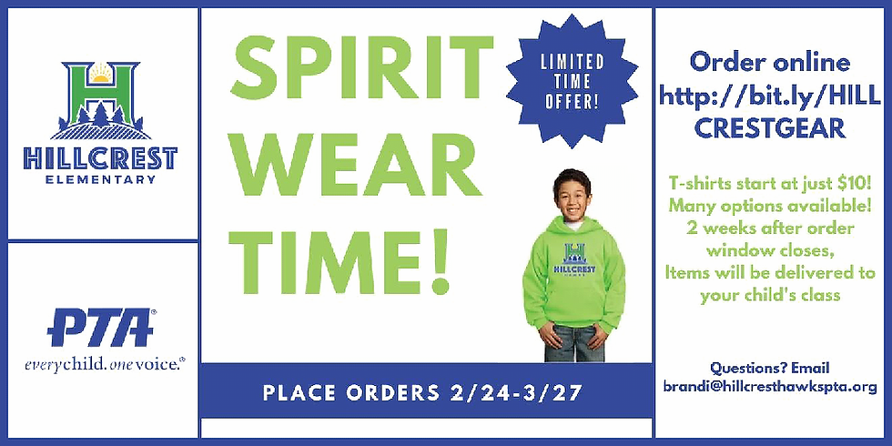SPIRIT WEAR available online for a LIMITED TIME!