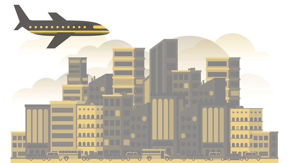 איור של מטוס נוחת בעיר ניו יורק