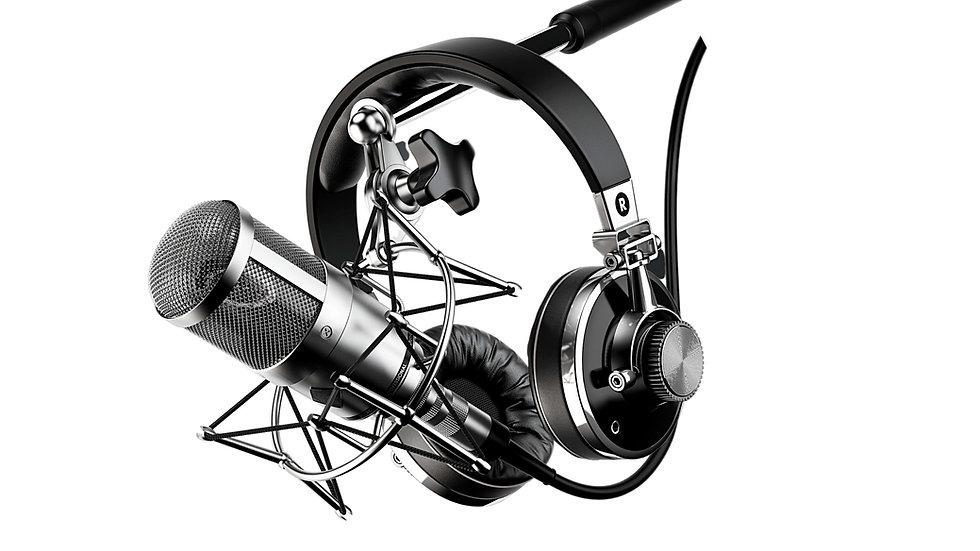 מיקרופון ואוזניות אולפן הקלטה