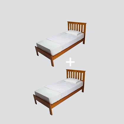 מארז זוגי של מגן מזרן ברולי למיטת יחיד בצבע לבן