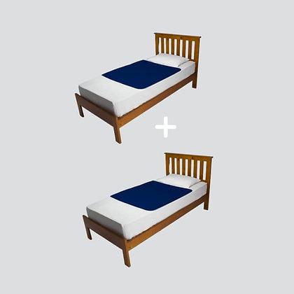 מארז זוגי ברולי מגן מזרן ללא כנפיים למיטת יחיד בצבע כחול