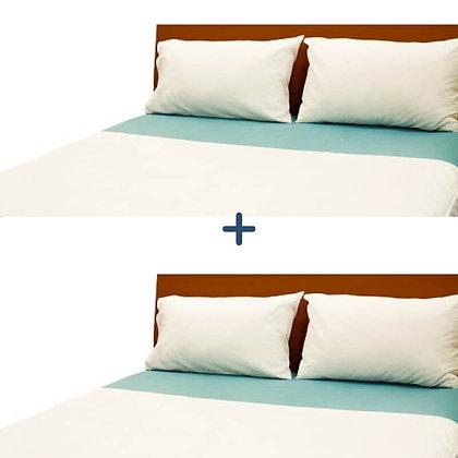 מארז זוגי של מגן מזרן ברולי עם כנפיים למיטה וחצי בצבע לבן
