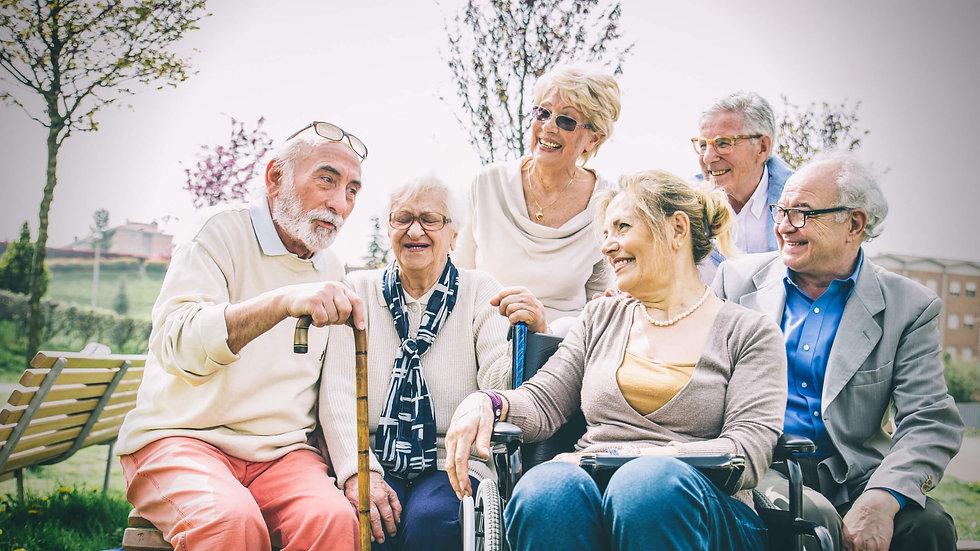 קבוצה של קשישים בגיל השלישי יושבים בגינה.jpg