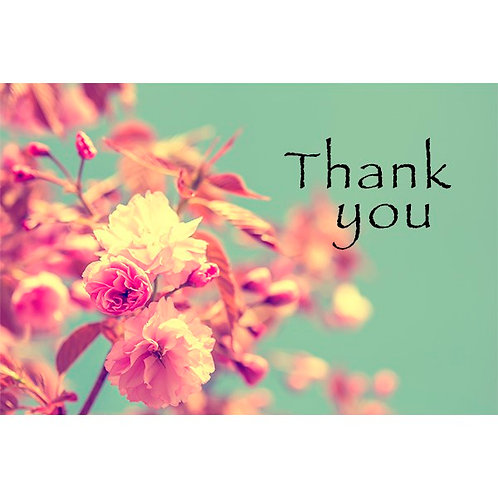 Thank you card -Green with Floral Design
