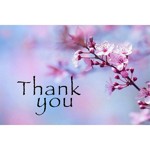 Thank you card - Purple with Floral Design