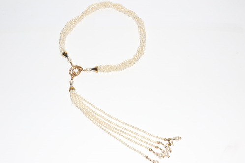 Swarovski® Five Strand Cream Pearl Necklace, Vermeil