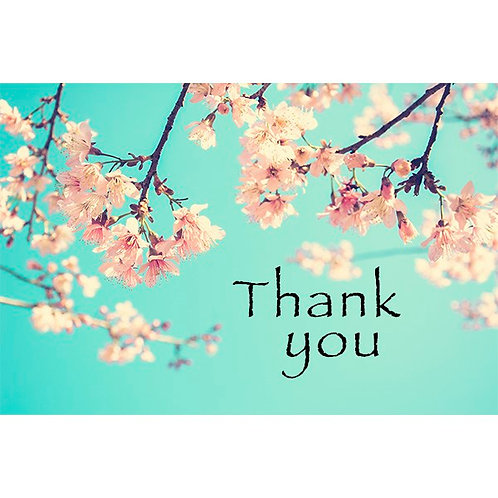 Thank you card - Blue with Floral Design