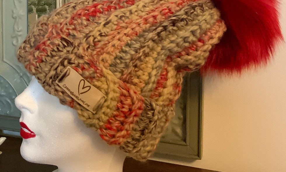 Cookie Jam crochet toque with luxury faux fur Pom