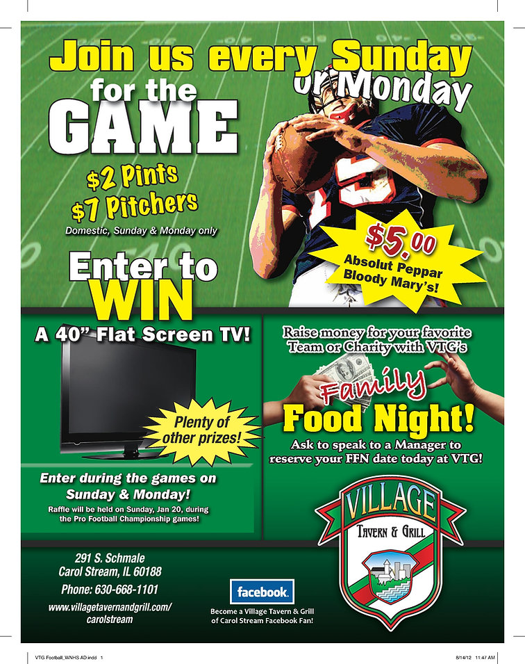 Game Time Specials Every Sunday and Monday at The Village Tavern and Grill