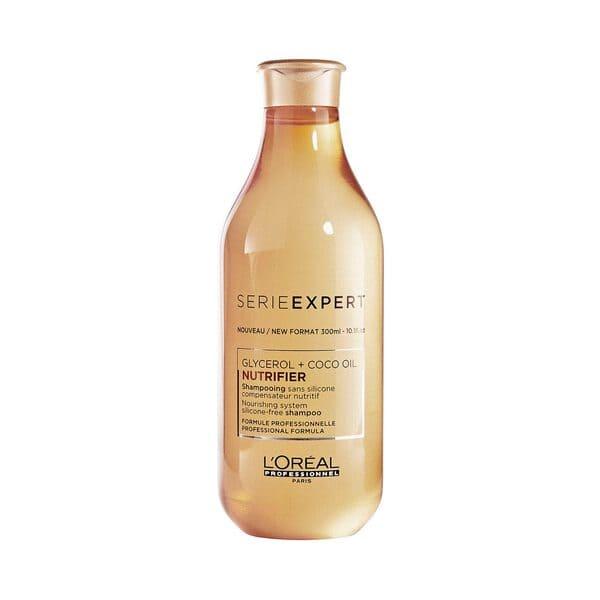 Nutrifier Shampoo.  L' Oréal Professionnel. Shampoo de textura ligera para dar la dosis correcta de nutricion. Beneficios: Nutrición, suavidad, brillo y Previene las puntas abiertas.