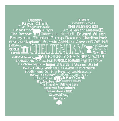 Cheltenham Heart Tea Towel - Meadow Green