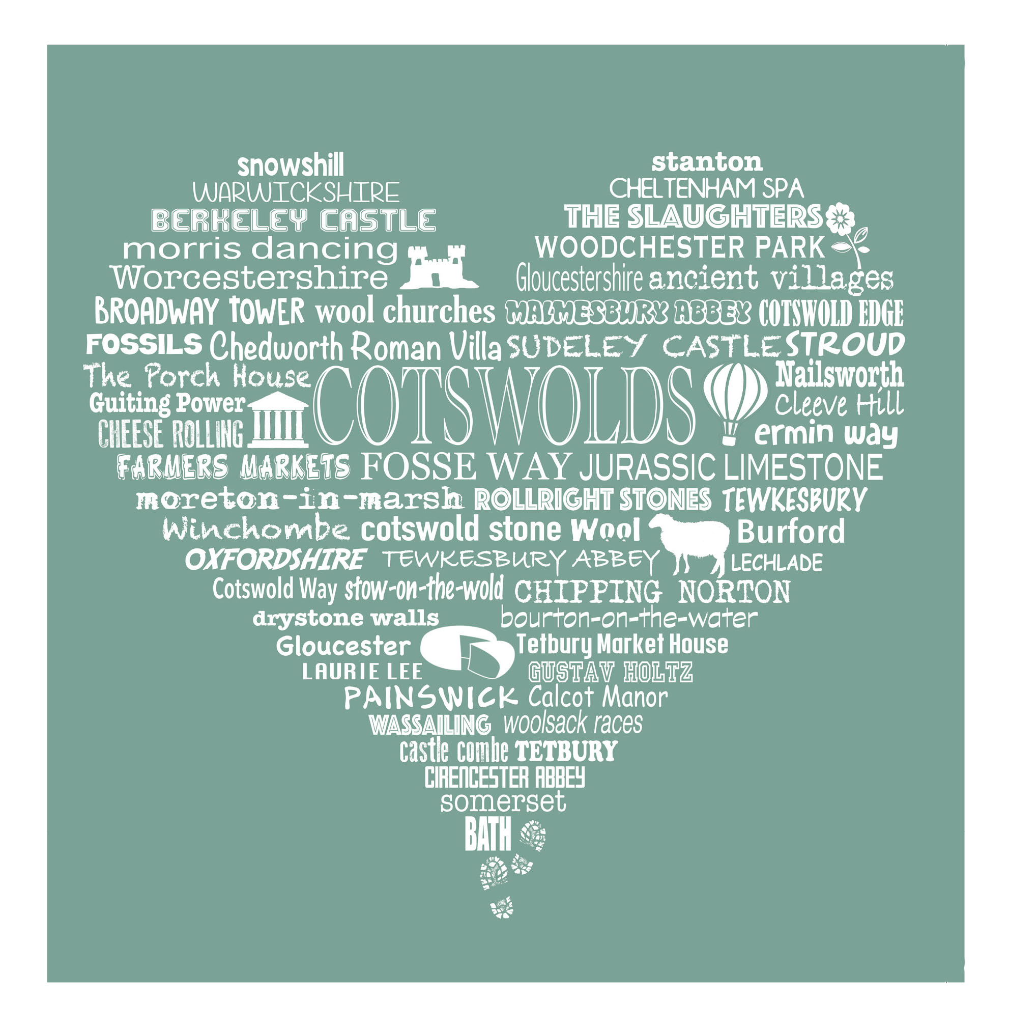 Cotswold Heart - Moss Green